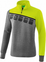 Sweat zippé Erima 5C gris chiné/lime