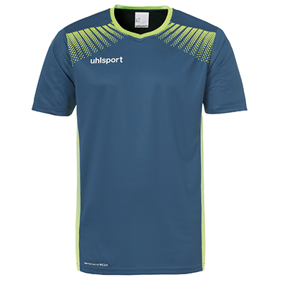 Maillot de football Goal bleu pétrole/vert flash Uhlsport