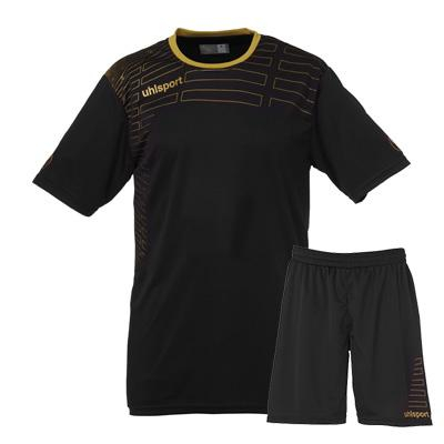 Maillot de football SPECIAL FEMME Kit maillot + short Match noir/or Uhlsport